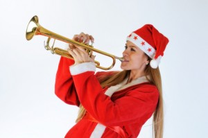 Santa Girl with Trumpet