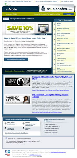 Preview of the Musicnotes Email Newsletter