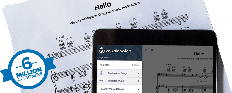 Musicnotes app on tablet