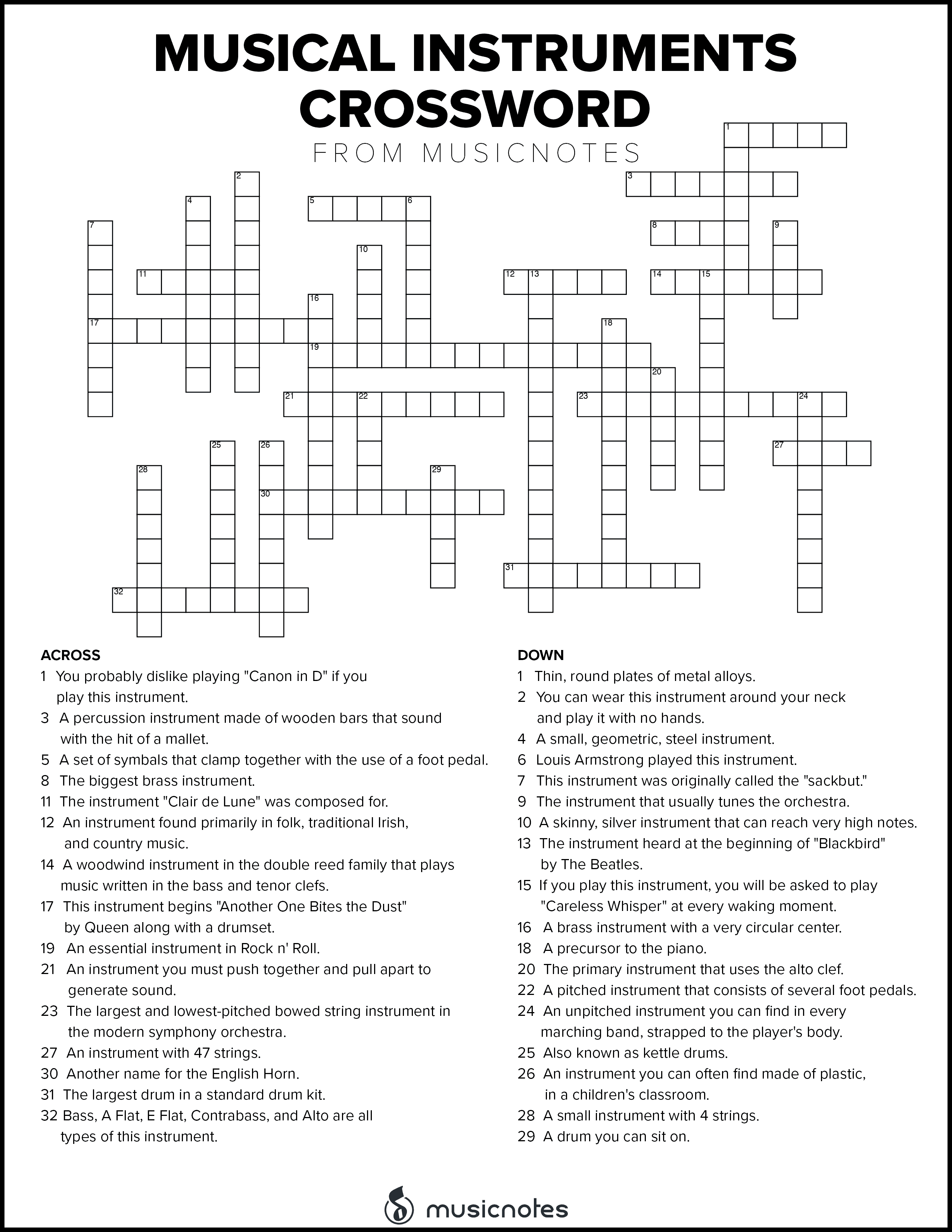 picture relating to Music Puzzles Printable titled Musical Crossword Puzzles with Free of charge Printables! Musicnotes Already