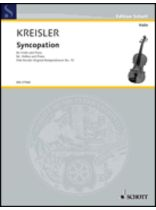 Fritz Kreisler - Syncopation - Music Book