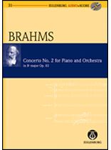 Johannes Brahms - Piano Concerto No. 2, Bb Major, Op. 83 - Study Score / CD - Eulenburg Audio and Score - Book/CD set